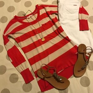 Victoria's Secret pink & tan striped sweater